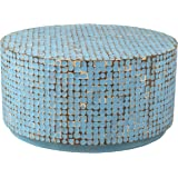 East at Main Cummings Coconut Shell Inlay Round Coffee Table, Blue, (31x31x16)