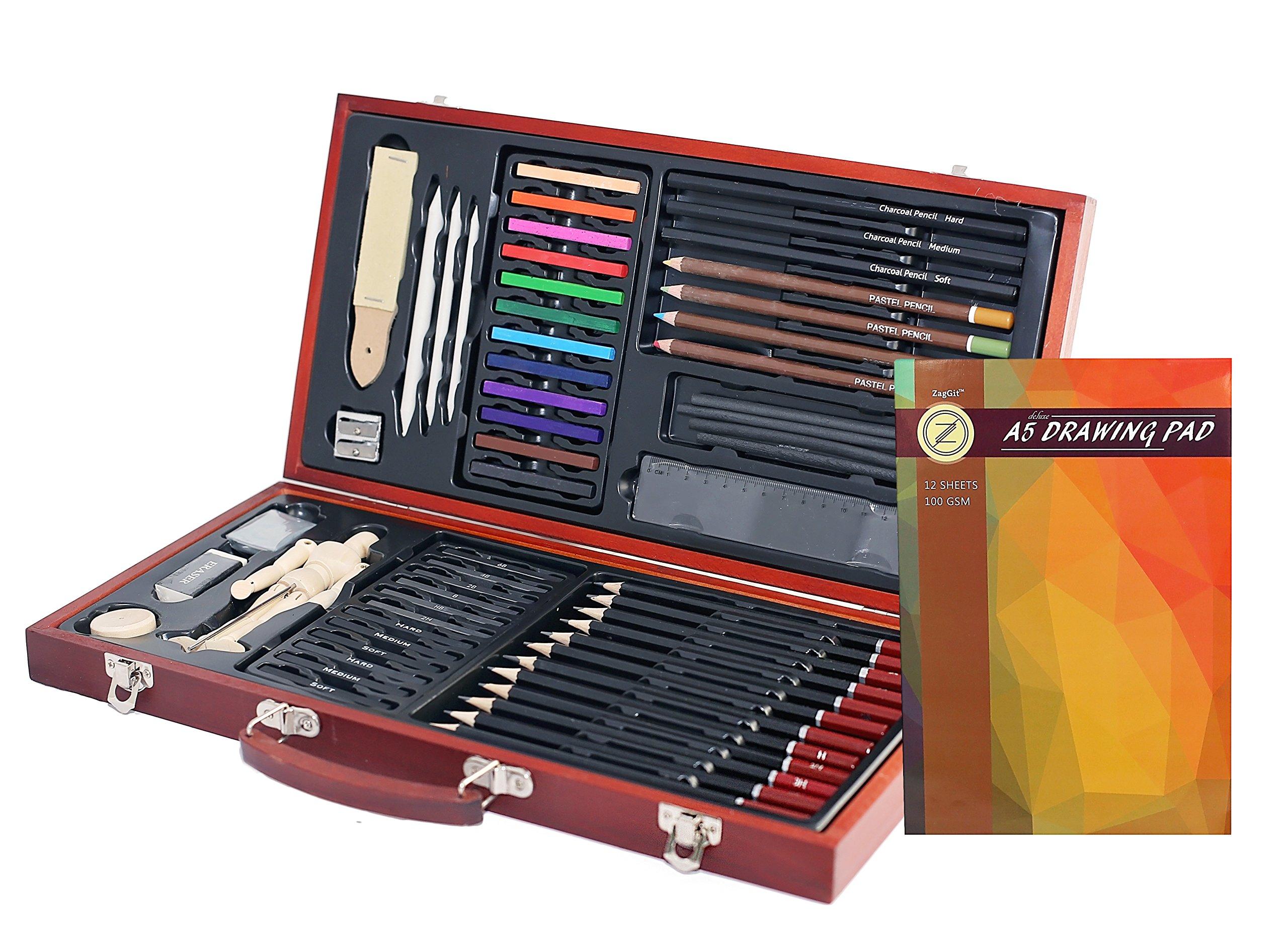 ZagGit Sketching Deluxe Art Box Set - 58 Piece