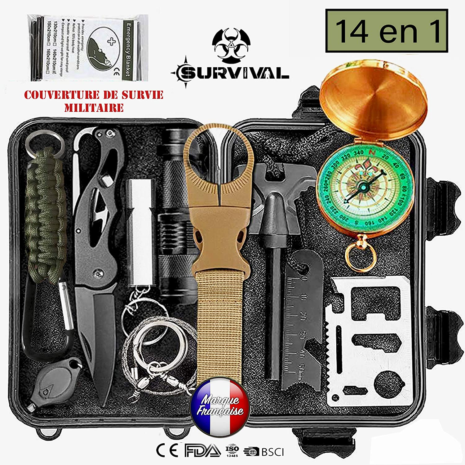 Unibell Survie Outdoor Gear Kit durgence Camping Randonn/ée Auto Aide Outils Box Pack