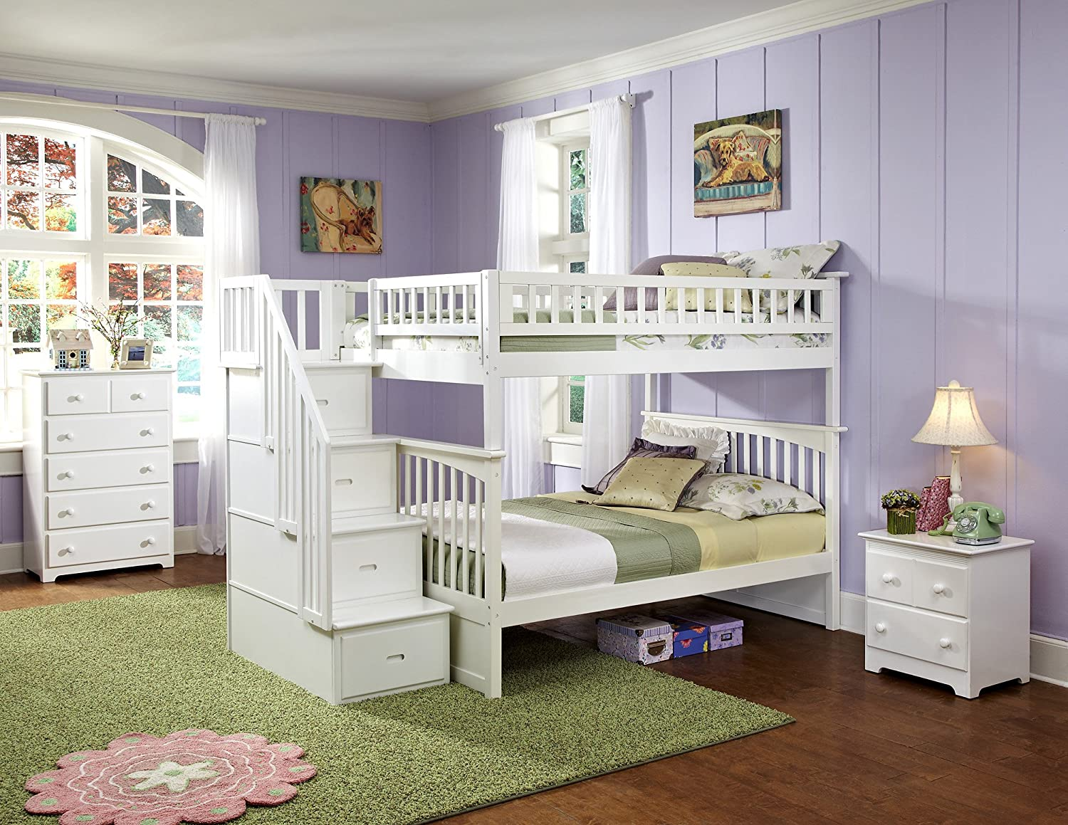 Amazon.com: Columbia Staircase Bunk Bed, Full Over Full, White: Kitchen &  Dining - Amazon.com: Columbia Staircase Bunk Bed, Full Over Full, White