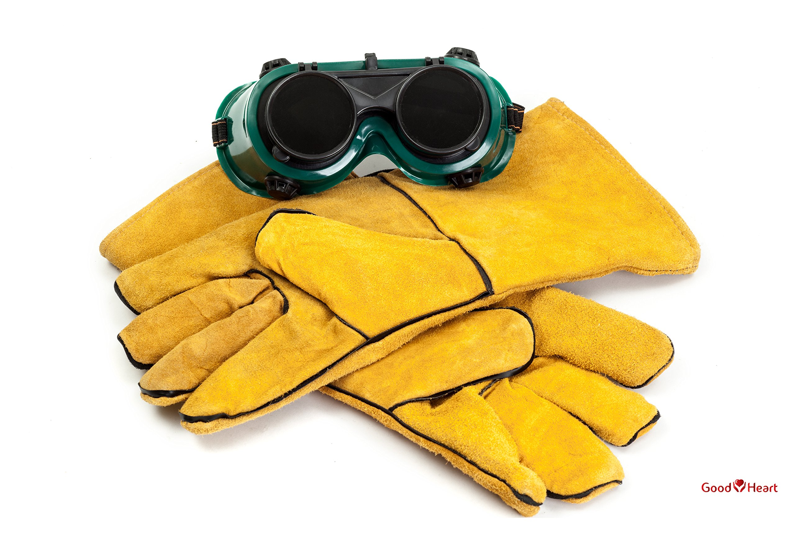 Cowhide Leather Welding Gloves With FREE Bonus Pair of Welding Goggles for Ultimate Set. Extreme Heat Resistant, Perfect For Tig Welders, Mig, and Other Industrial Work. Convenient Flip-Up Goggles
