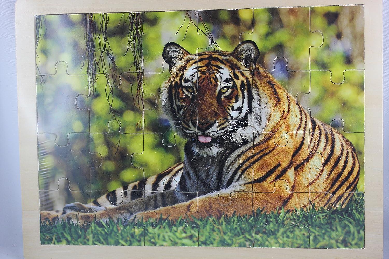 ab 3 Jahre 22cm x 30cm 24 Teile Rahmenpuzzle Holz Tiger Out of the blue