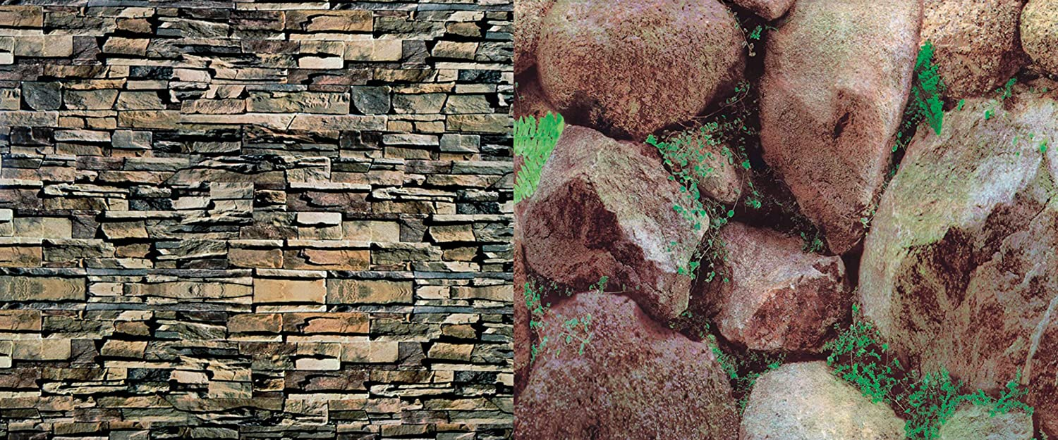 Pennplax Brick/Boulder Double Back Background for Reptiles and Amphibians Penn Plax INC. REP51