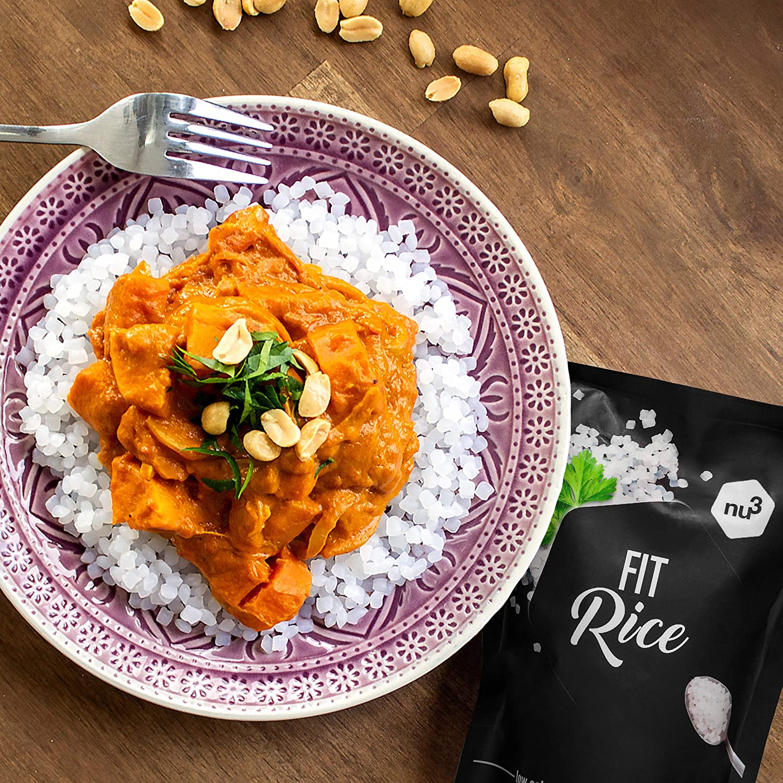 nu3 Arroz bajo en calorías | 200g low carb rice a base de konjac | 14 kcal por porción | Arroz natural con glucomanano | Granos de arroz sin gluten y sin ...