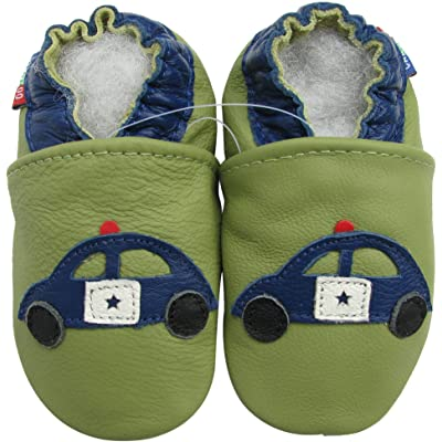 Carozoo baby boy soft sole leather infant toddler kids shoes Police Car Green