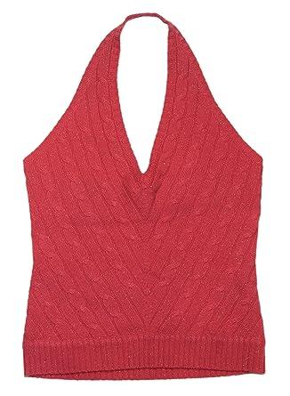 Ralph Lauren Black Label Womens Cashmere Cable Sweater Vest Pink Gold Large