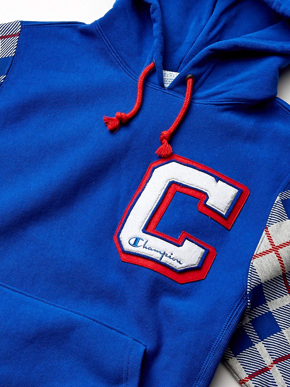 Champion LIFE Men's Reverse Weave Po Hood-Plaid Sleeves AOP: Clothing