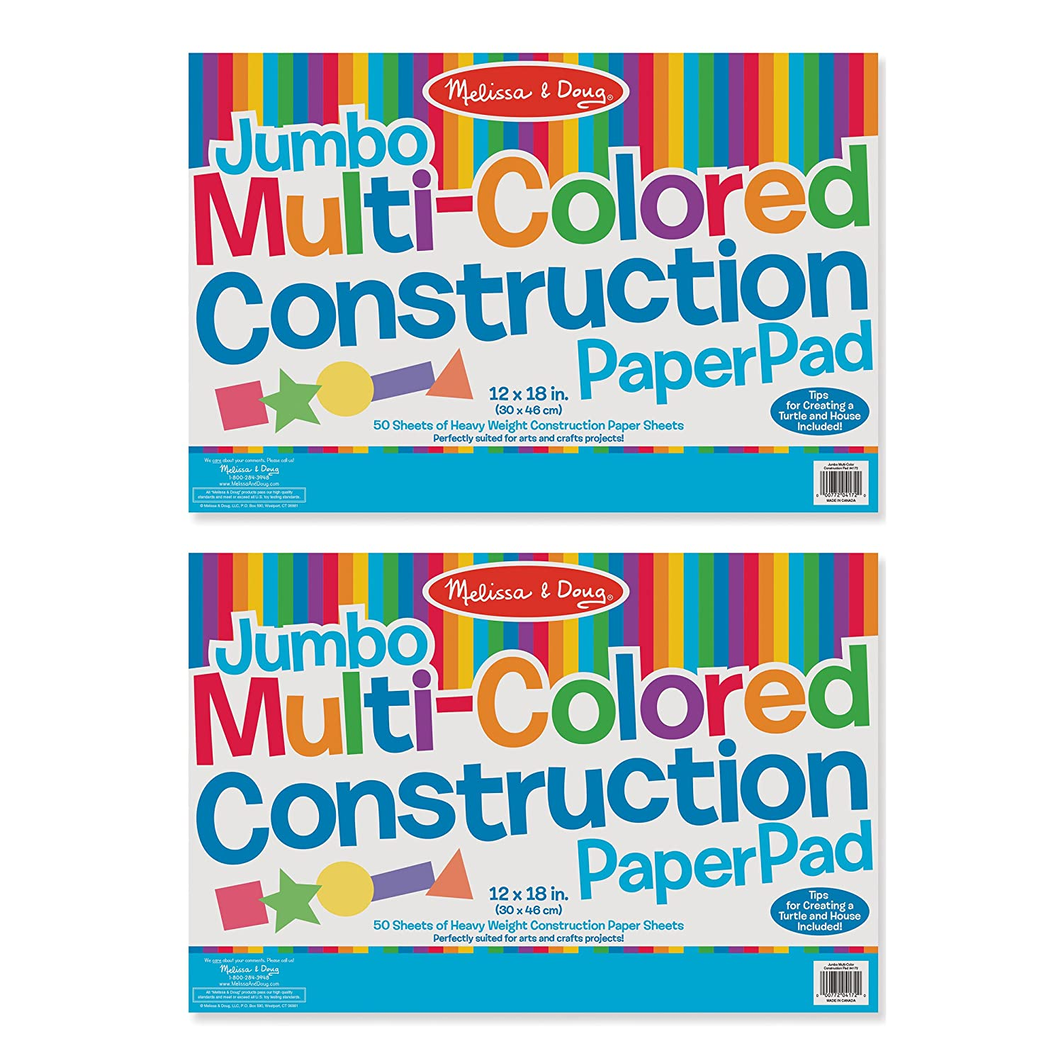 Melissa & Doug Jumbo Multi-Colored Construction Paper Pad (12 x 18 inches) With 50 Sheets 4172