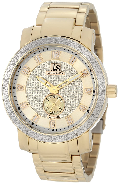 Joshua & Sons Herren Armbanduhr Edelstahl Diamant-Armband