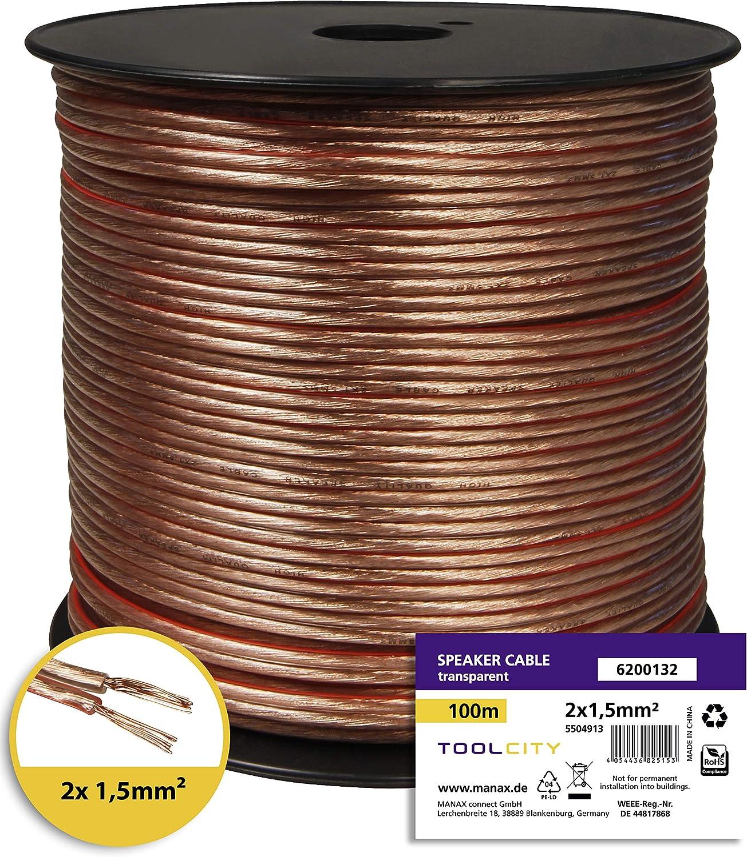 toolcity Cable de Altavoz Box Cable//Cable de Audio 20/m Transparente Zwilling Litz 2/x 2,50/mm/²