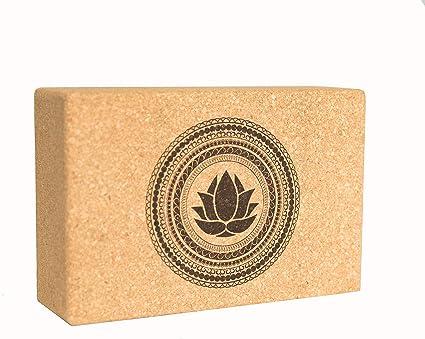 Sukha Designs Natural Cork Handcrafted and Custom Engraved Yoga Block/Yoga Support Brick, Single Block (Lotus)