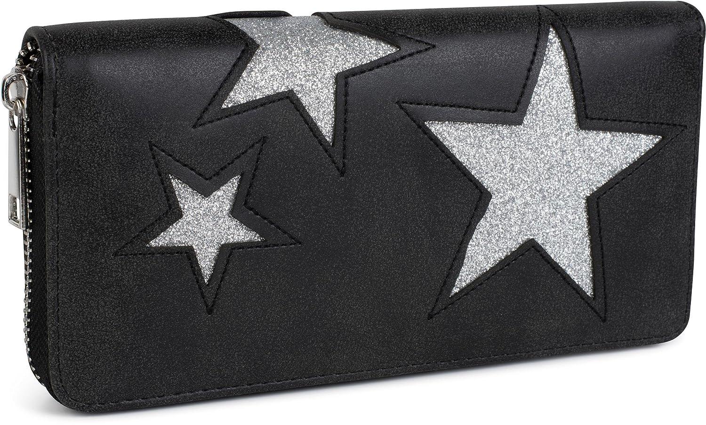 cremallera circular color:Azul claro // Estrella plateada mujeres 02040058 styleBREAKER monedero con motivo de estrellas recortadas y costuras ornamentales