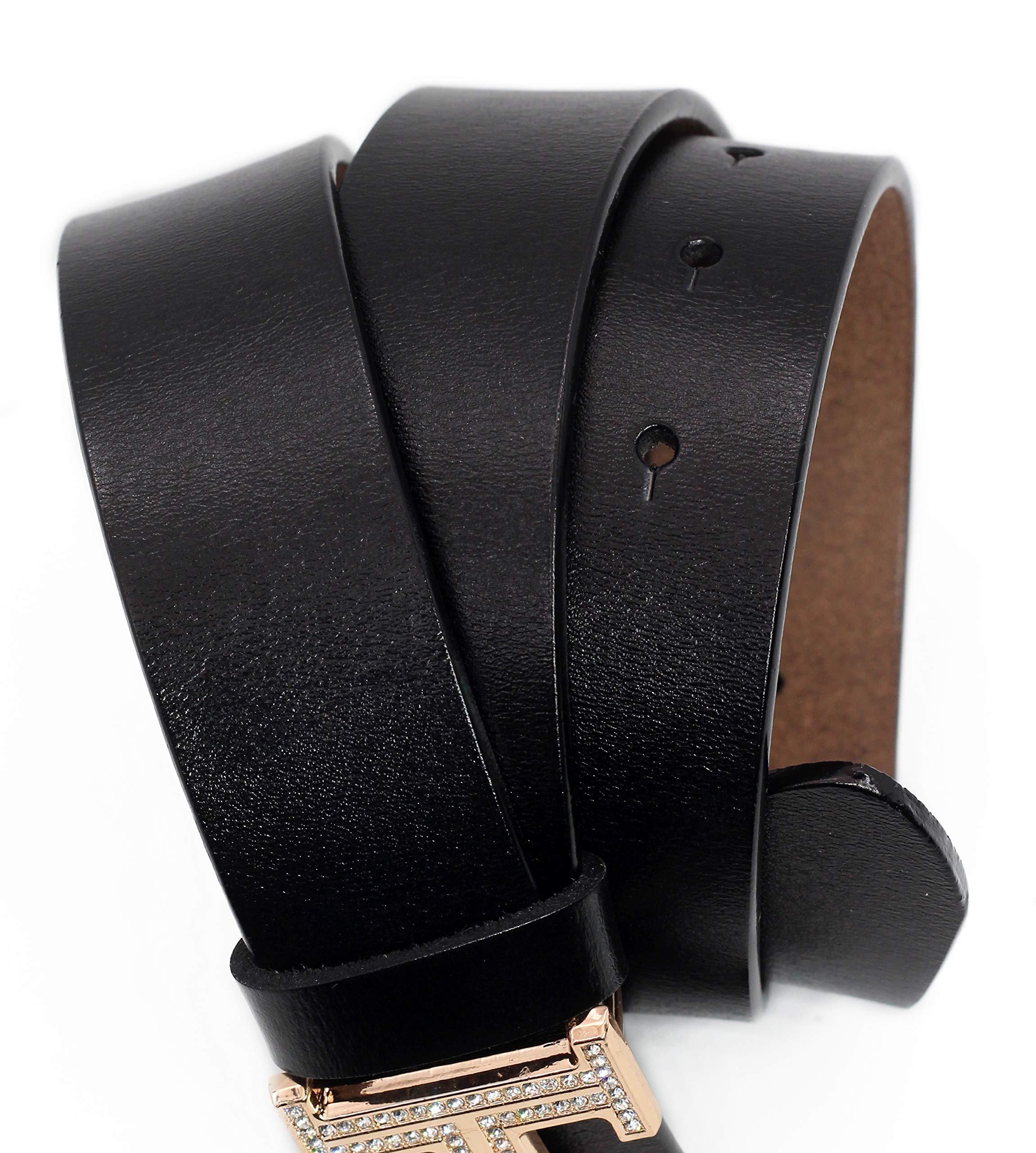 Women's Cowhide Leather Belt Fashion Buckle for Pants Jeans Shorts Ladies Design Genuine Belts (110cm/43.3'', pants size 29''-34'', Style 2- Black) by DUOAI (Image #6)