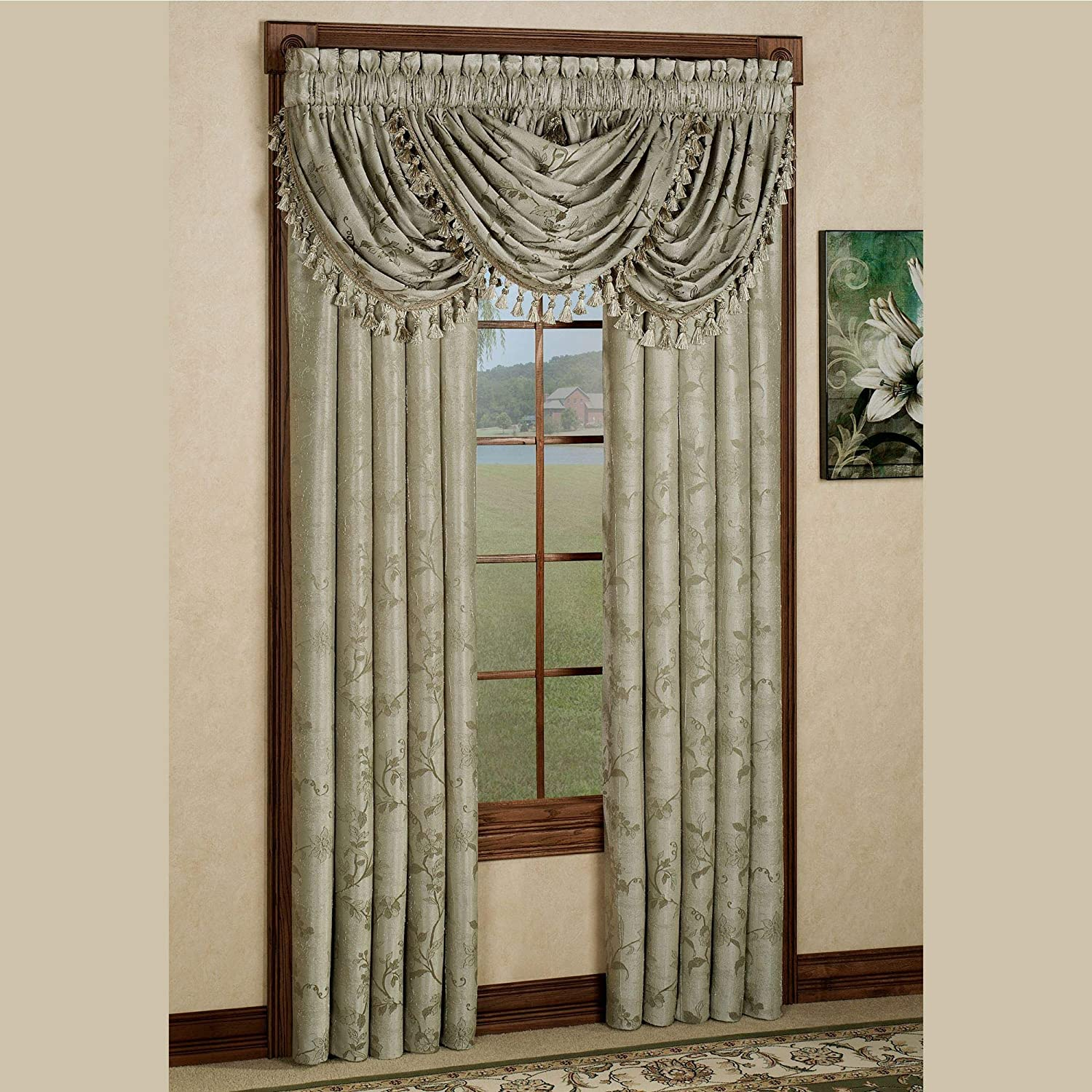 Lorraine Home Fashions Of Chin Floral Lustre Tailored Curtain Panel