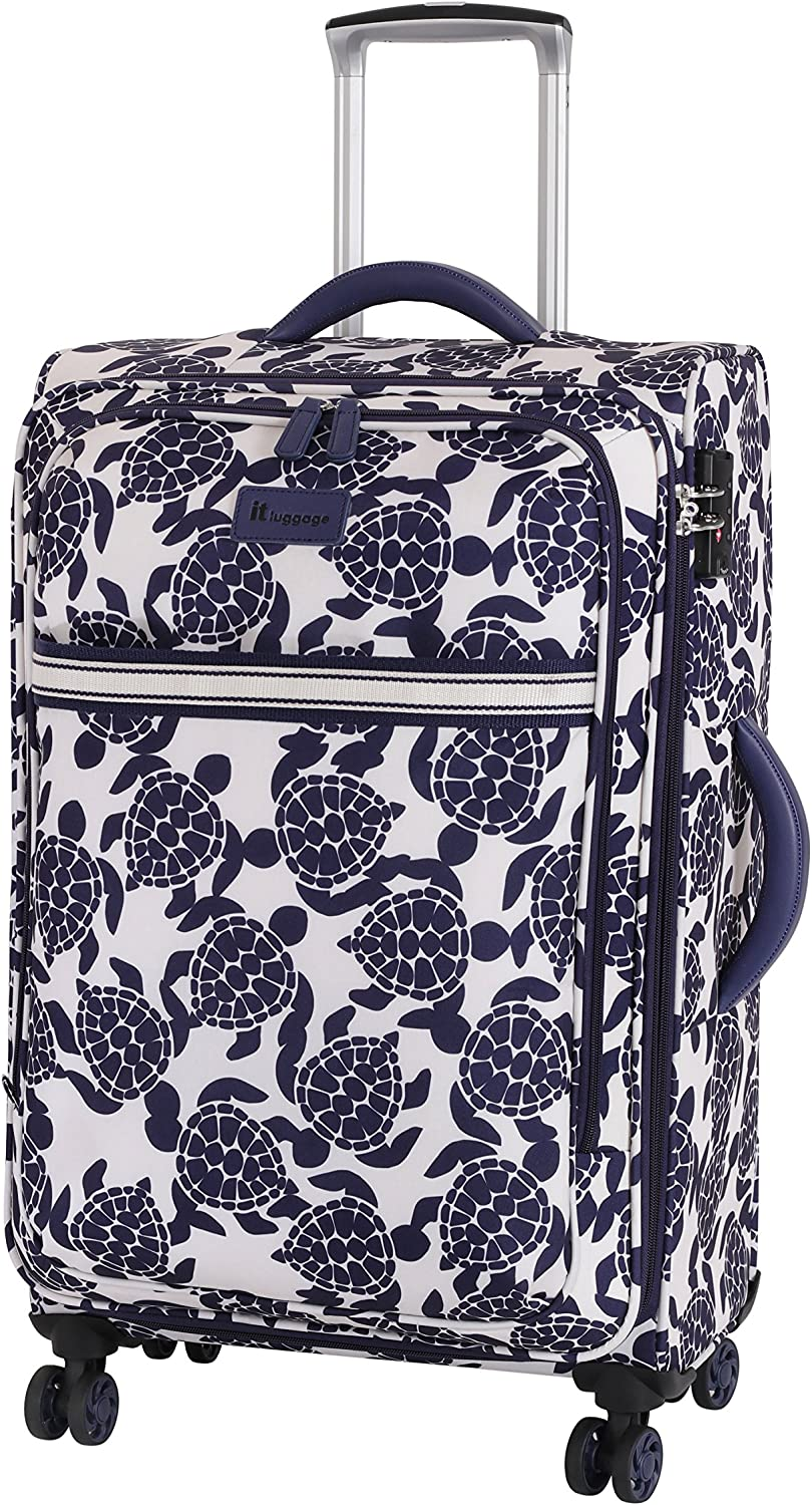 it luggage Nautical Turtles 8 Wheel Lightweight Semi Expander Suitcase Medium Maleta, 66 cm, 78 Liters, (Navy/Cream Sea Print)
