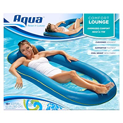 Aqua Comfort Water Lounge, X-Large, Inflatable Pool Float with Headrest & Footrest, Bubble Waves: Toys & Games