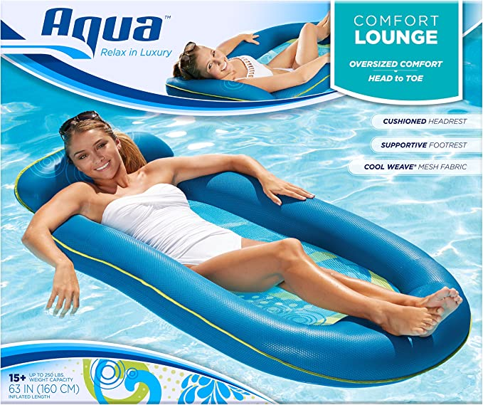 Aqua Pool Lounge Extra Long 70in Comfortable Headrest Soft Cool Weave Fabric