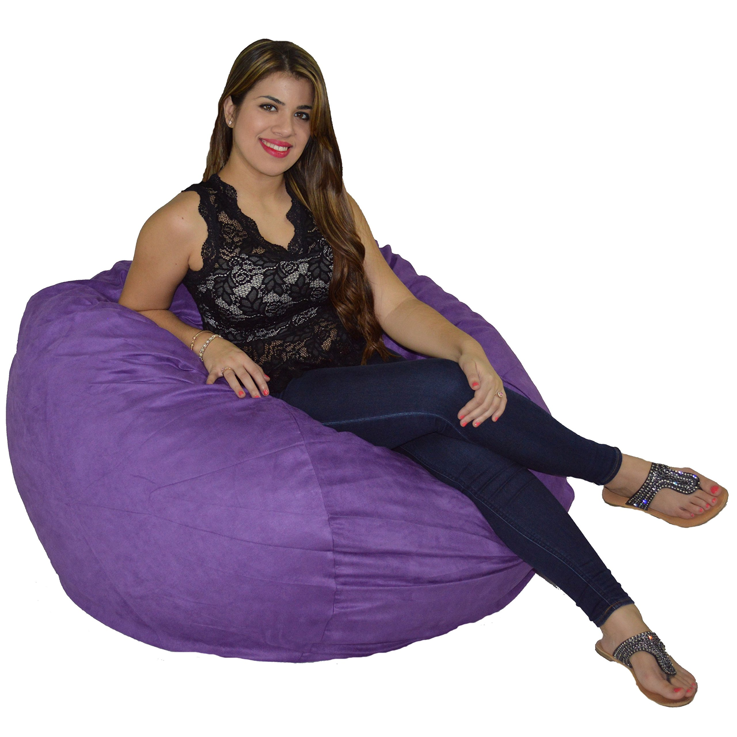 Cozy Sack Bean Bag Chair: Large 4 Foot Foam Filled Bean Bag - Large Bean Bag Chair, Protective Liner, Plush Micro Fiber Removable Cover - Purple by Cozy