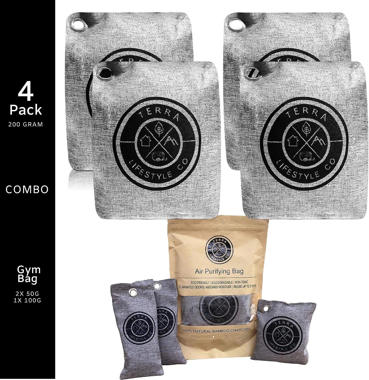 Terra Lifestyle Co - 4 Pack 200G & Gym Bag Set of Charcoal Bag Odor Absorber | Odor Eliminator for House | Bamboo Charcoal Bags | Shoe Odor Eliminator Set & Gym Bag Deodorizer