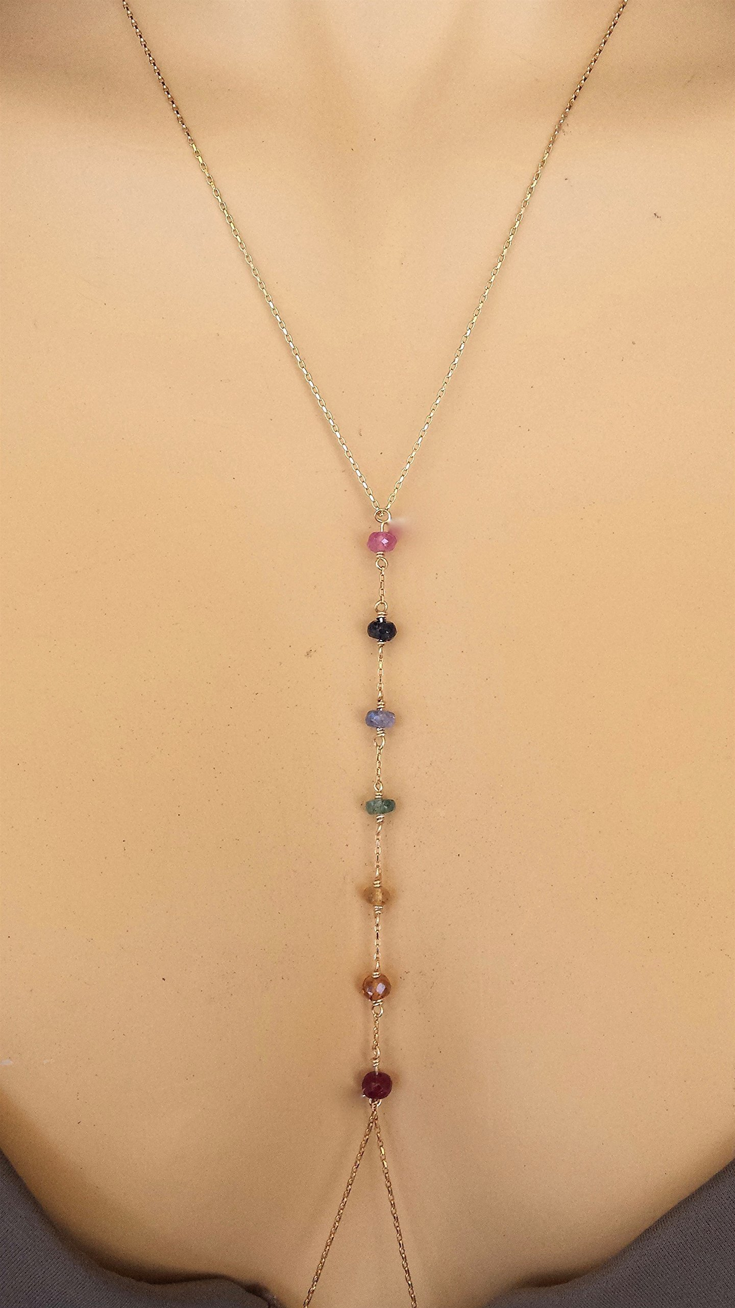 7 Chakras Jewelry Precious Stones Non Tarnish Body Necklace Gift for Her Spiritual Yoga