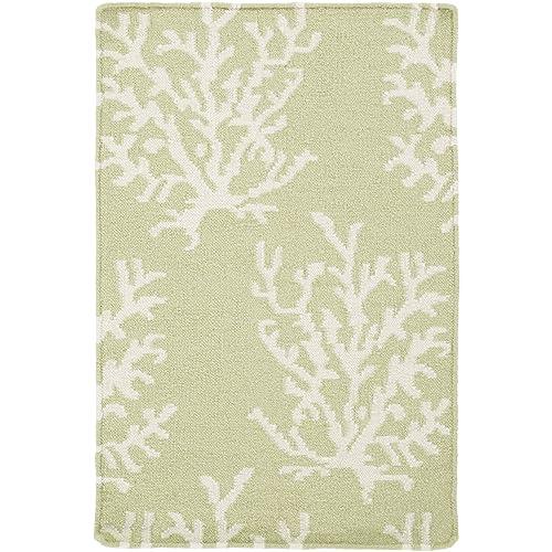 Somerset Bay by Surya Boardwalk BDW-4009 Coastal Flatweave Hand Woven 100 Wool Lettuce Leaf 2 x 3 Accent Rug