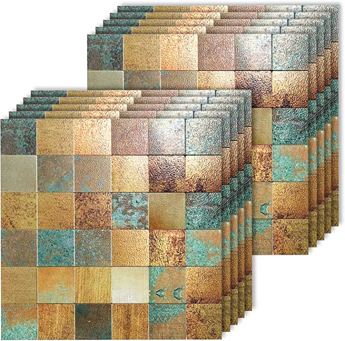 "HomeyMosaic Peel and Stick Tile Backsplash for Kitchen Wall Decor Aluminum Surface Metal Mosaic Tiles Sticker,Square Plaid Imitation Rust Classical Retro Bronze,12""x12"" x 10 Tiles"
