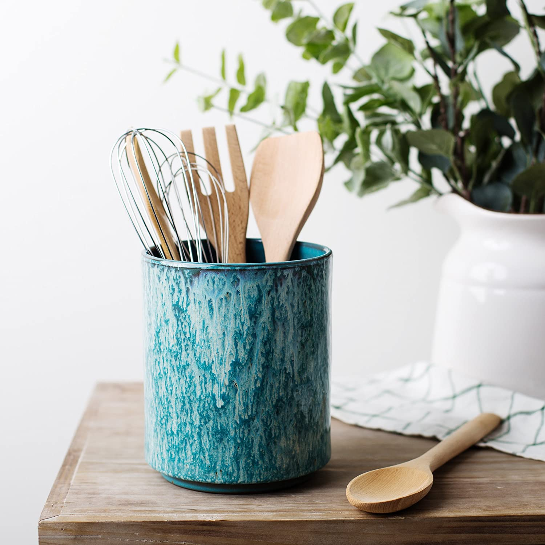 Ceramic Utensil Crock Utensil Holder, (Blue)