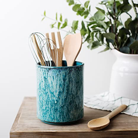 Ceramic Utensil Crock Utensil Holder, (Blue)
