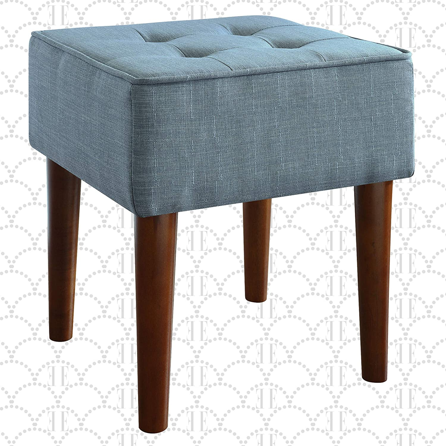 Elle Decor Aria Upholstered Ottoman Food Rest Stool with Classic Button Tufted Style, Extra Seating for Modern Home, Compact Size for Small Space, Blue