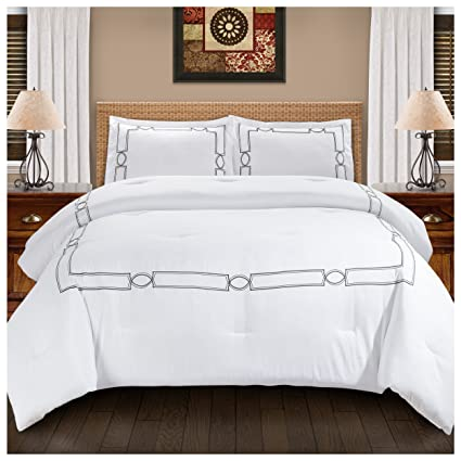 Luxury Hotel Bedding Sets.Superior Kensington Embroidered Comforter Set With Pillow Shams Luxury Hotel Bedding With Soft Microfiber Shell All Season Down Alternative Fill