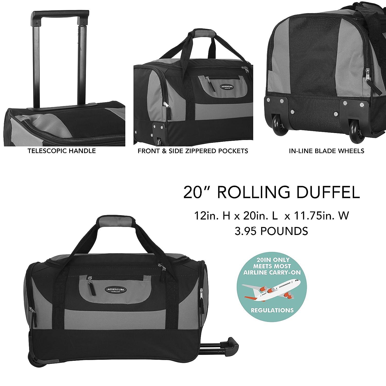 One Size Green Travelers Club Luggage Adventure 20 Inch Multi-Pocket Sports Rolling Duffel