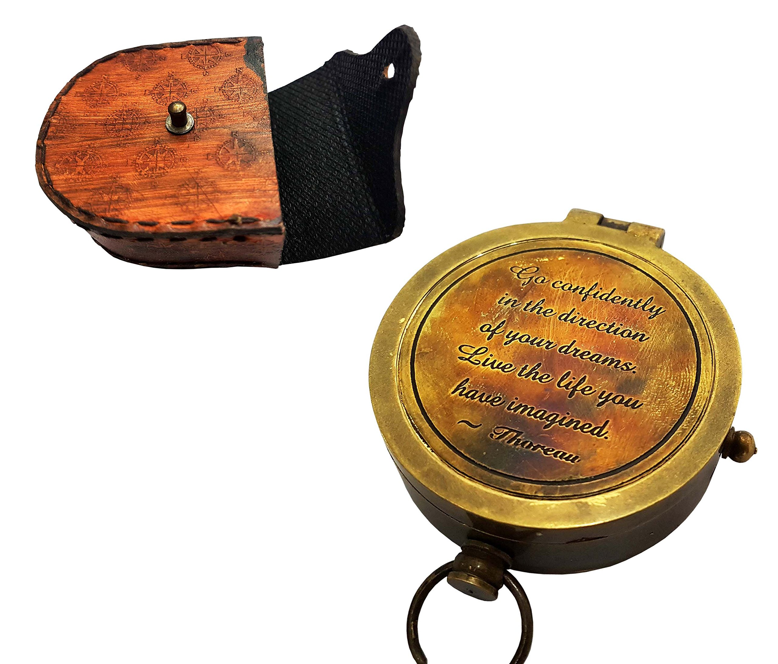 Brass Nautical Thoreau's Go Confidently Engraved Solid Brass Compass with leather Case