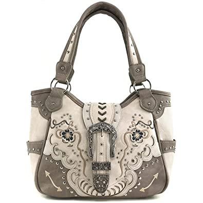e606ede0ab9a Justin West Buckle Floral Embroidered Studded CCW Concealed Carry Shoulder  Purse Handbag (Beige Purse Only
