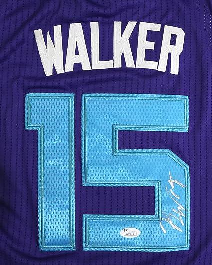 Kemba Walker Charlotte Hornets Autographed Purple  15 Jersey Size L JSA COA 9c5d12429