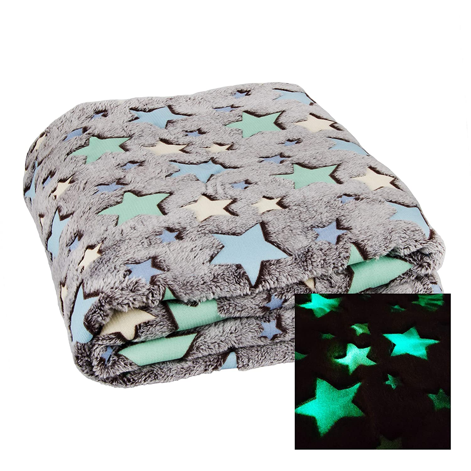 Cozy Soft Throw Blanket with Glow In The Dark Stars | Star Blanket 160x130 cm 63''x51'', 100 % Polyester dhal