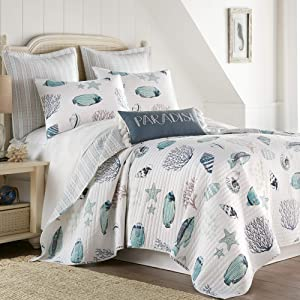 Levtex home - Eastlake Quilt Set - Full/Queen Quilt + Two Standard Pillow Shams - Coastal - Navy, Taupe, Turquoise, Grey - Quilt Size (88x92in.) and Pillow Sham Size (26x20in.) - Reversible - Cotton