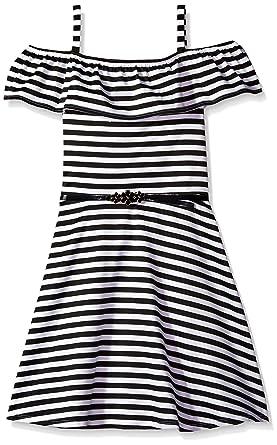 de364c92d7f6 Amazon.com  Amy Byer Girls  Big Shoulder Stripe Dress with Front Ruffle   Clothing