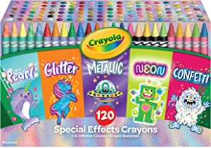 Crayola 120 Crayons in Specialty Colors, Amazon Exclusive Coloring Set, Gift for Kids, Ages 4, 5, 6, 7