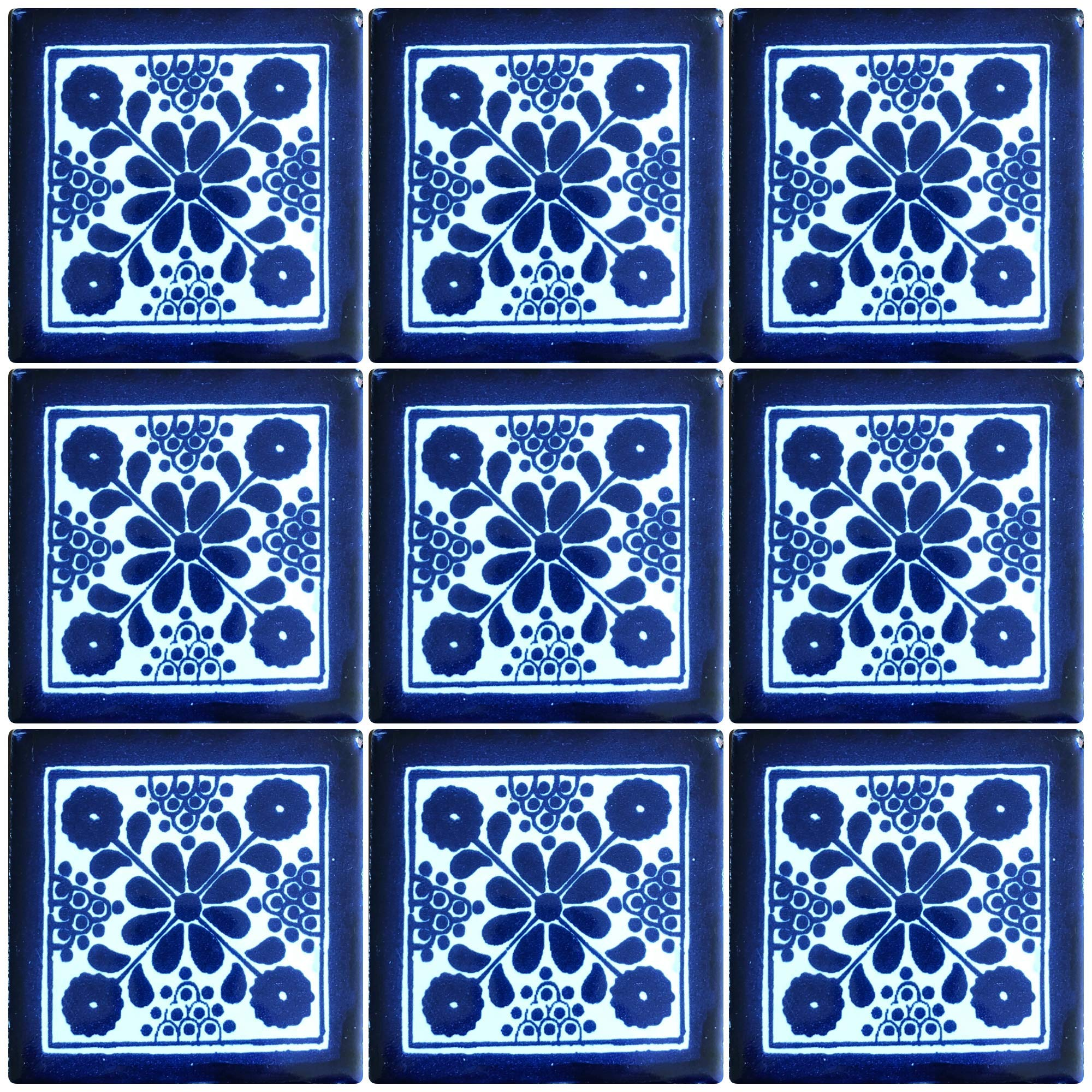 Ceramic Talavera Mexican Tile 4x4'', 9 Pieces (NOT Stickers) A1 Export Quality! - EX27