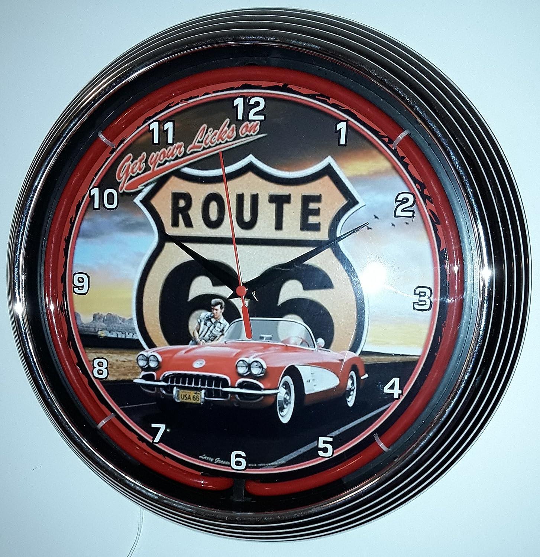 NEONUHR NEON CLOCK RED CORVETTE C1 ROUTE 66 WANDUHR BELEUCHTET MIT