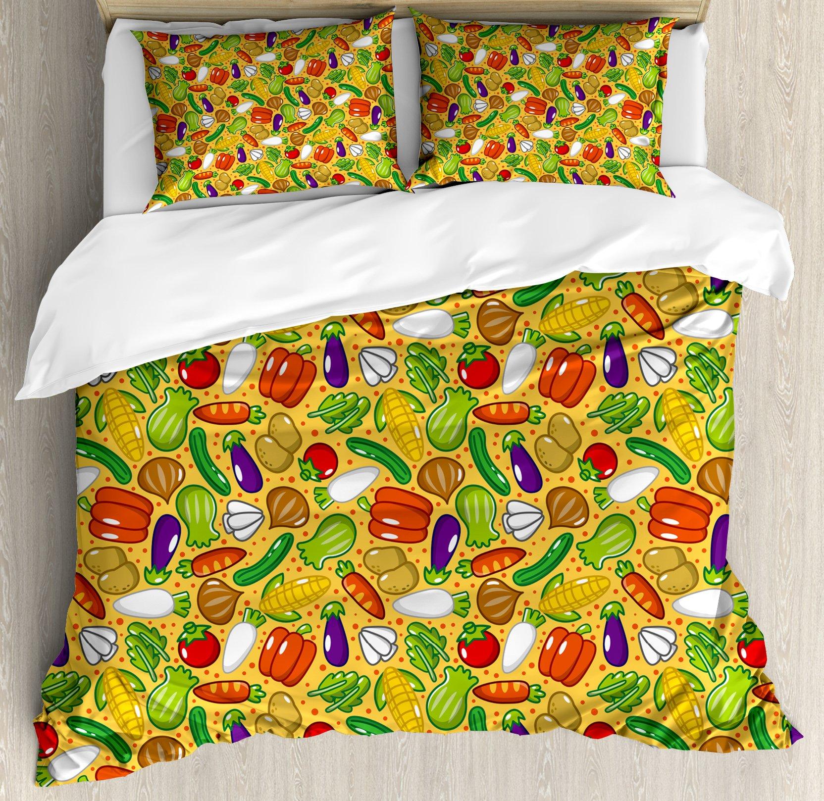 Vegetables King Size Duvet Cover Set by Lunarable, Eggplant Squash Corn Carrot Tomatoes Kale Botany Plants Supper Health Cartoon, Decorative 3 Piece Bedding Set with 2 Pillow Shams, Multicolor