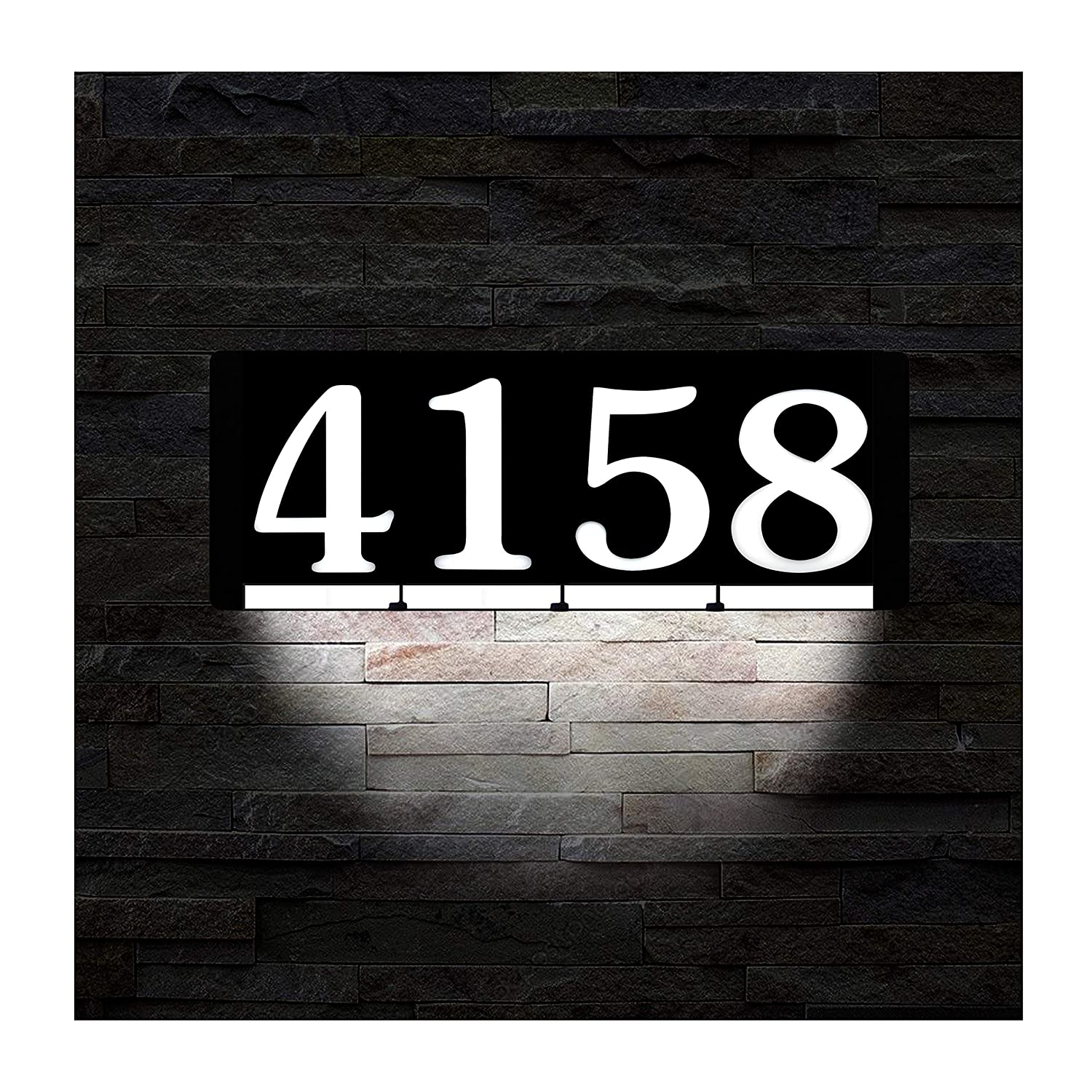 Homidea backlit led house number and sound activated overhead light personalized large black and white modern address number sign custom street number