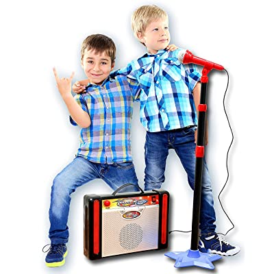 IQ Toys Kids Karaoke Machine Microphone Stand and Speaker with Adjustable Mic Stand and Volume, Connects to Your iPod, MP3 Player, and CD Player: Toys & Games