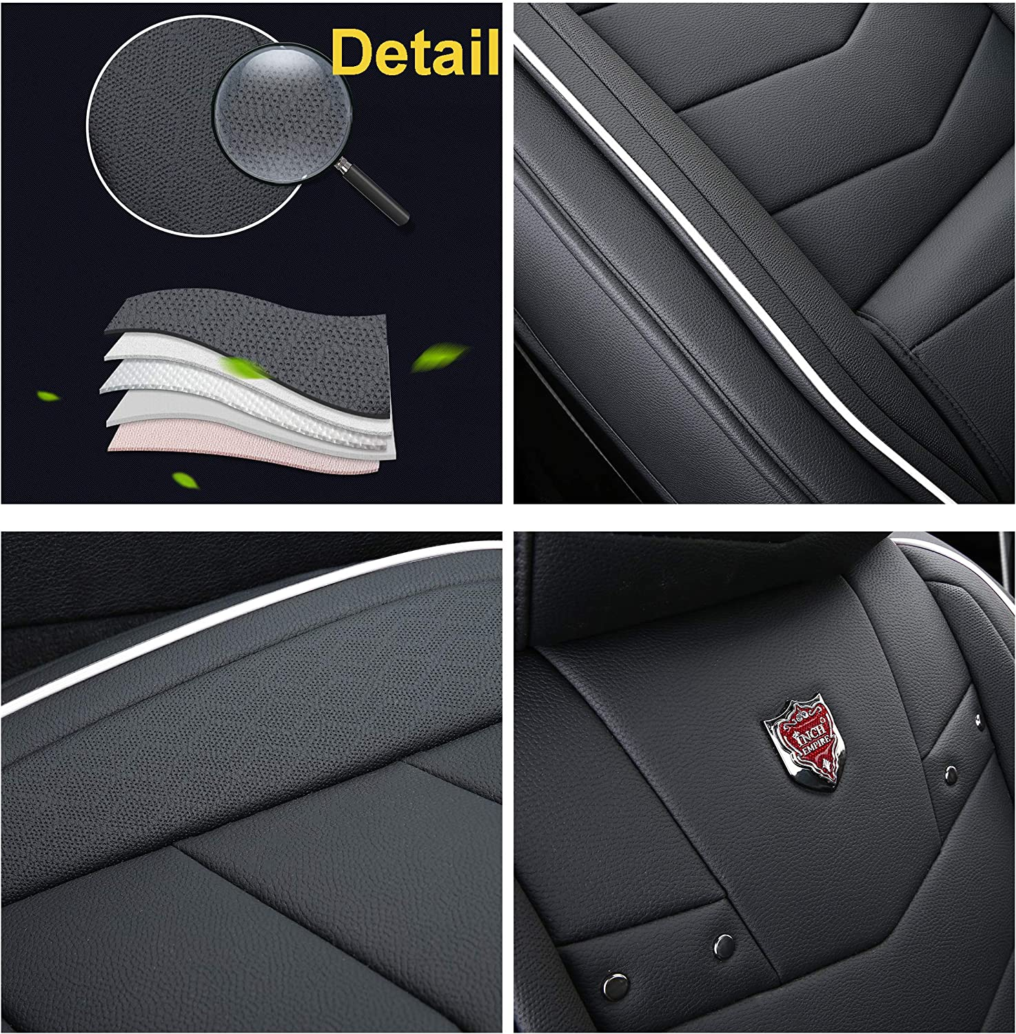 Black with Red Trim Full Set INCH EMPIRE Car Seat Cover-Water Proof Leatherette Cushion with Built-in Lumbar Support Front and Back Universal Fit for Sedan SUV Truck Hatchback Durable Use