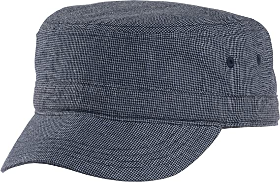 baac8453233d2c Image Unavailable. Image not available for. Color: District - Houndstooth  Military Hat DT619 (New Navy/Blue)
