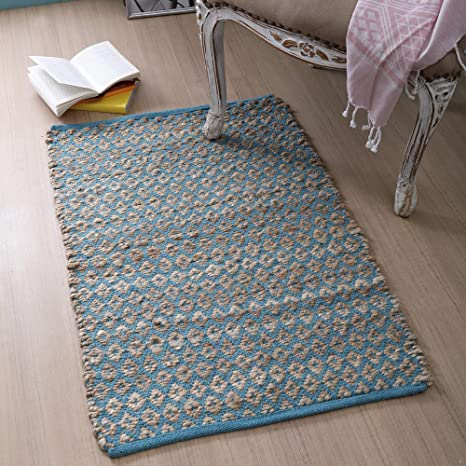 Amazon Com Jute Cotton Rug 2x3 Hand Woven By Skilled Artisans For Any Room Of Your Home Décor Reversible For Double The Wear Diamond Design Jute Cotton Rug Natural