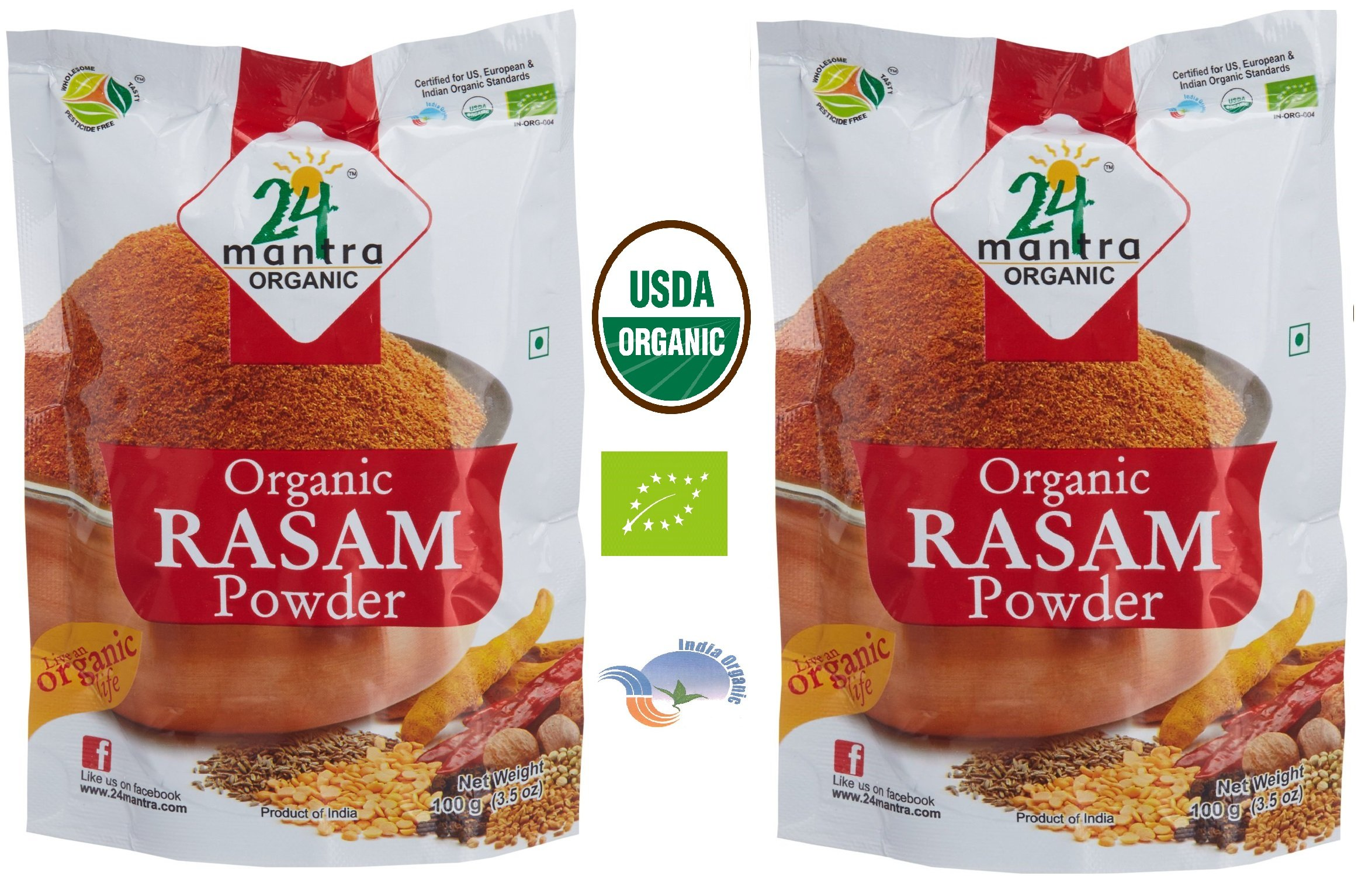 Organic Rasam Powder USDA Certified Organic EU Certified Organic Pesticides Free Adulteration Free Sodium Free - Pack of 2 X 3.5 Ounces (7 Ounces) - 24 Mantra Organic