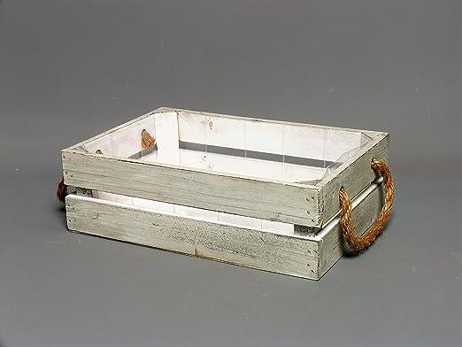 Envejecido – Maceta decorativa caja, rectangular de color blanco ...