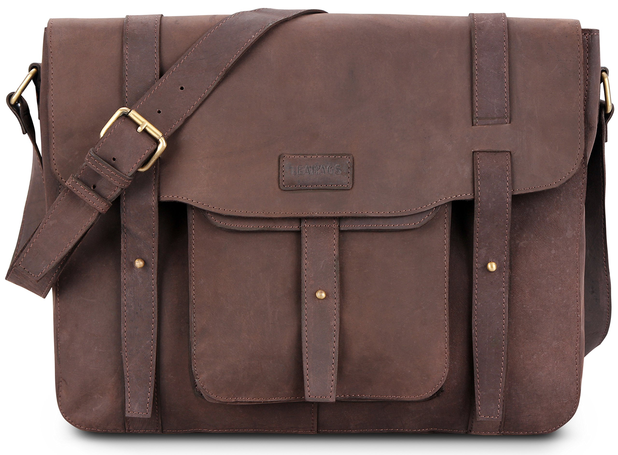 LEABAGS Potwin genuine buffalo leather messenger bag in vintage style - Nutmeg