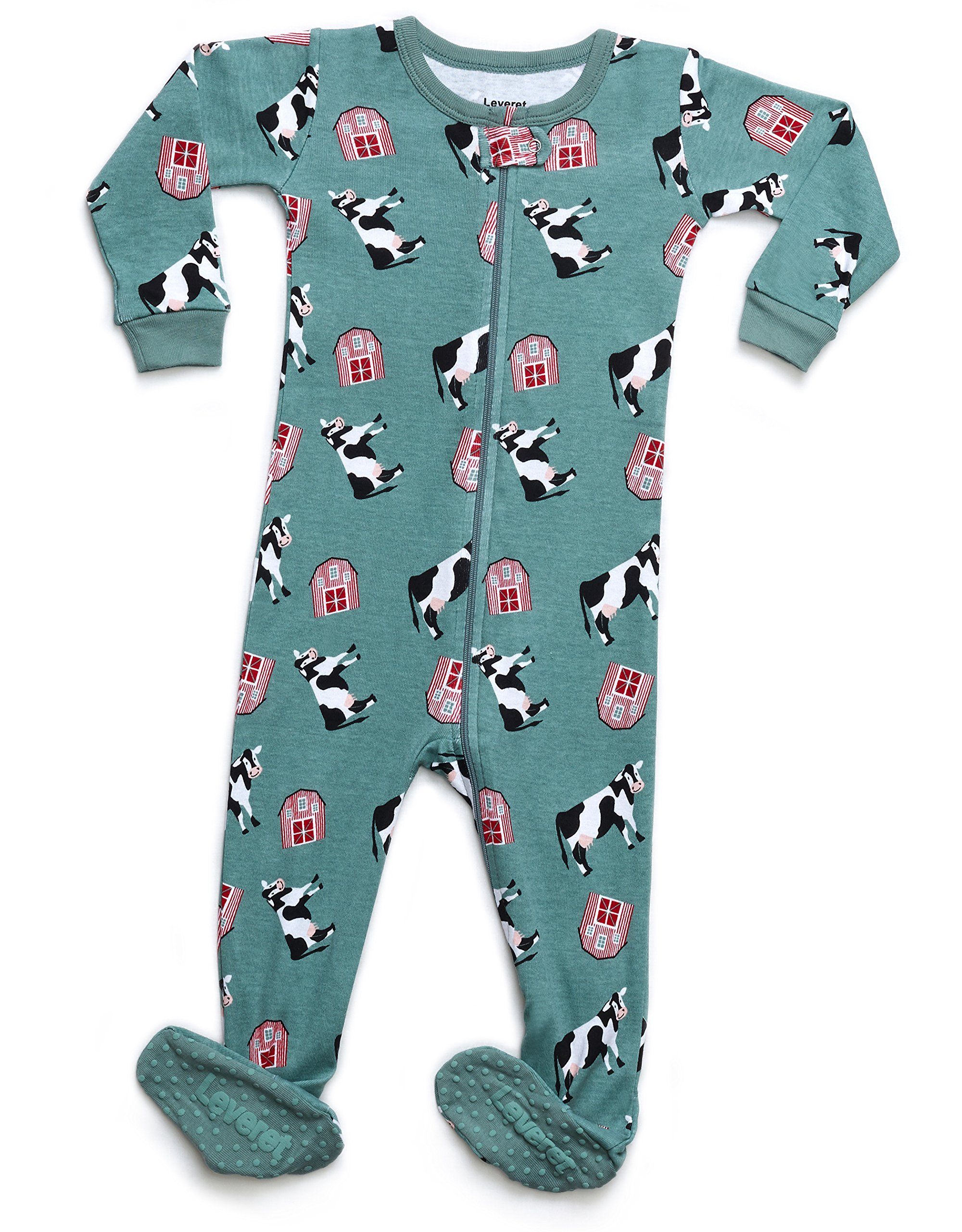 Leveret Organic Cotton Cow Footed Pajama Sleeper
